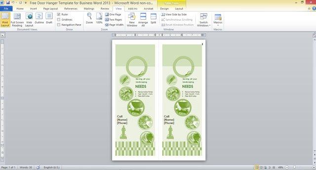 free door hanger template for business word 2013 2 fppt