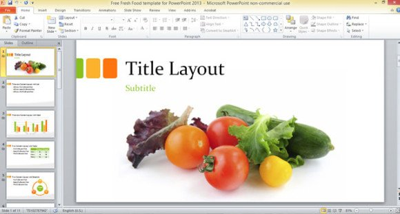 Free fresh food template for powerpoint 2013 for Design templates for powerpoint 2013