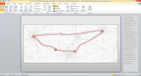 example of slide with animated route traced on a us map and using powerpoint