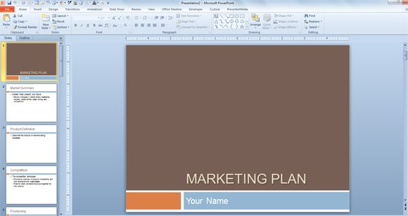 marketing plan template for powerpoint presentations, Modern powerpoint
