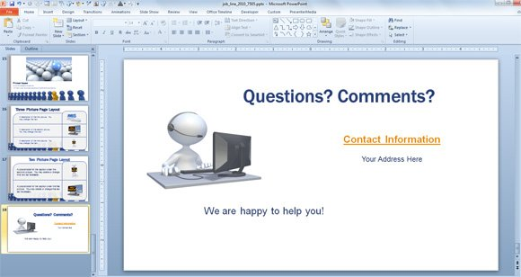 Last slide in a powerpoint presentation for Powerpoint questions and answers template