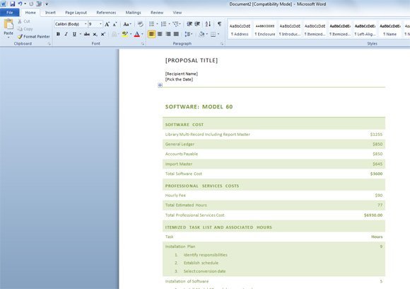 Elegant Free Business Proposal  Proposal Template Microsoft Word