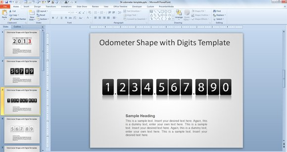 odometer powerpoint digits download