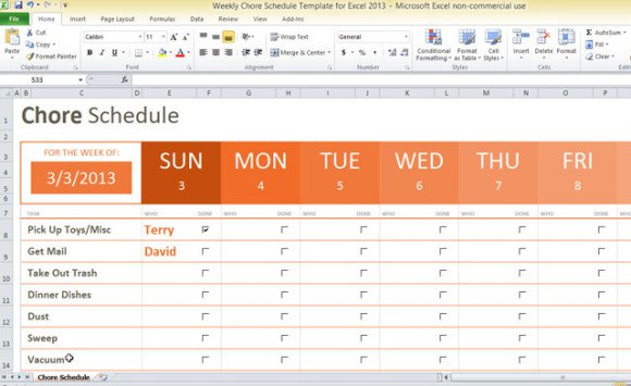 weekly chore schedule template for excel 2013 1