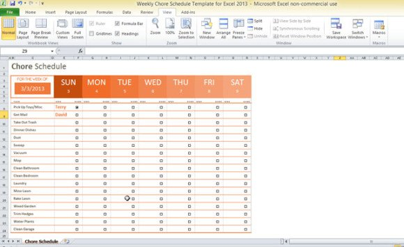 Chore Schedule Template For Excel