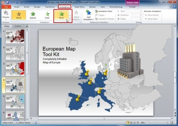 Europe map template for powerpoint presentations add animation effects toneelgroepblik Gallery