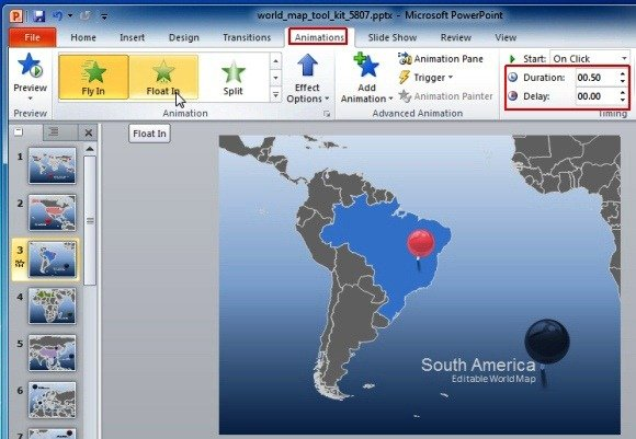 Animated world map toolkit for powerpoint create animated presentations with maps gumiabroncs Choice Image