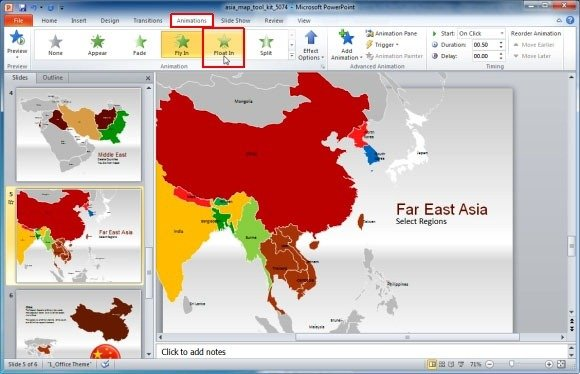 Asia map template for powerpoint presentations create animated presentations using the map of asia gumiabroncs Image collections