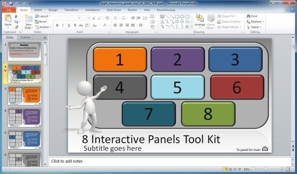 create interactive presentations with 8 interactive panels toolkit, Presentation templates