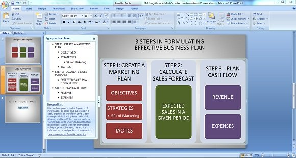 Powerpoint diagram on conceptualizing a smart business plan grouped list 3 friedricerecipe Image collections