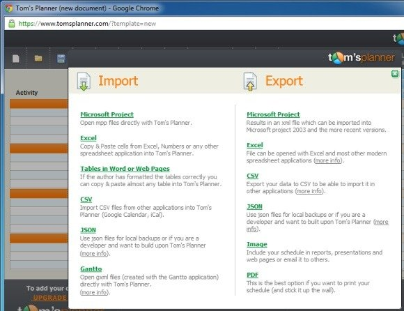 Import and Export Options