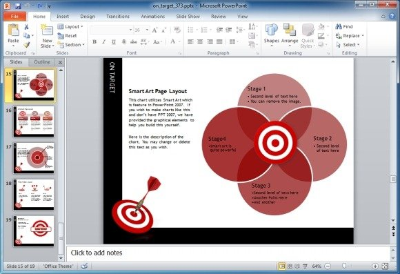 Target Darts Template For Powerpoint Presentations
