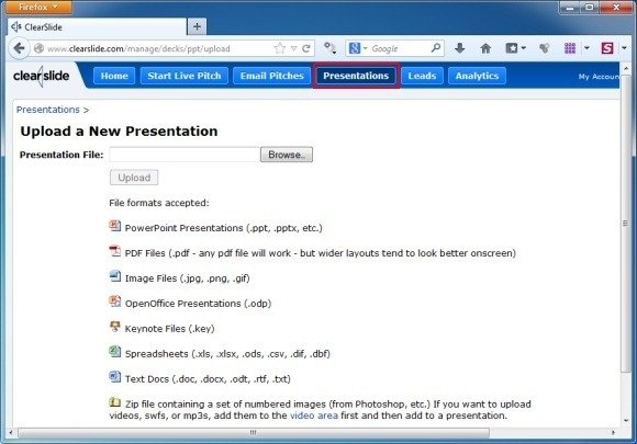Upload Presentation