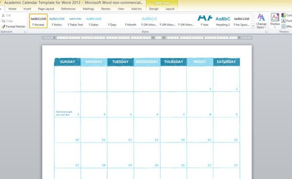 Academic Calendar Template For Word 2013