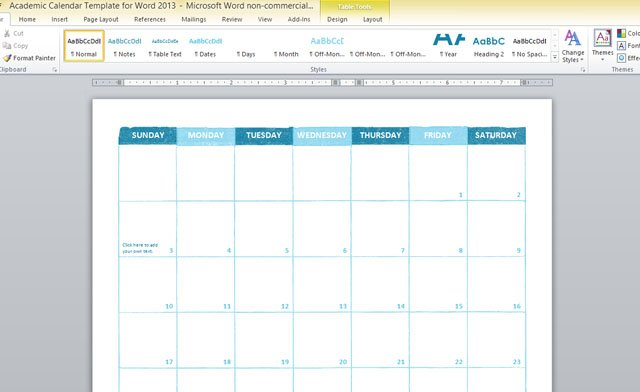 academic calendar template for word 2013, Modern powerpoint