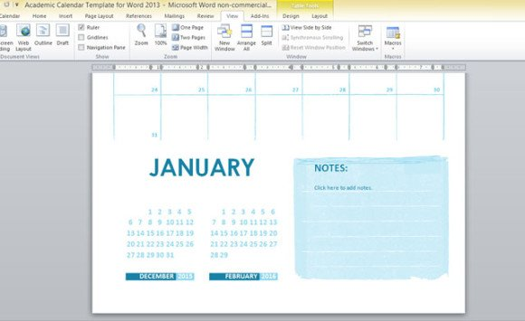 Academic Calendar Template For Word 2013 3