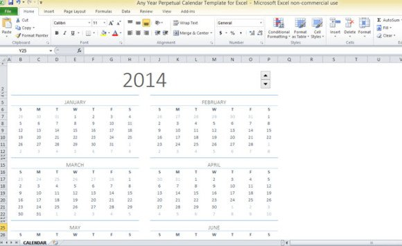 picture relating to Perpetual Calendar Printable named Any Yr Perpetual Calendar Template For Excel