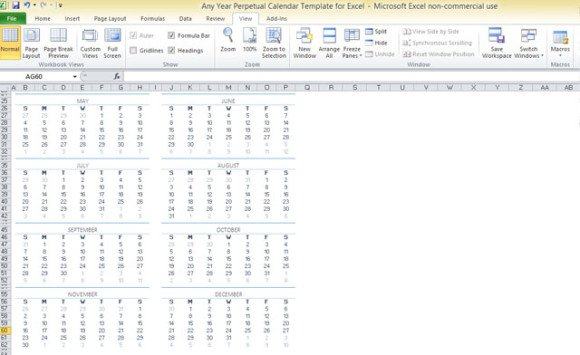 image about Perpetual Calendar Template named Any Yr Perpetual Calendar Template For Excel
