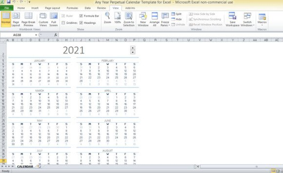 graphic relating to Perpetual Calendar Template referred to as Any Calendar year Perpetual Calendar Template For Excel