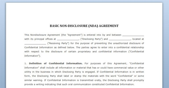 Free confidentiality agreement negotiation template for word for Basic nda template