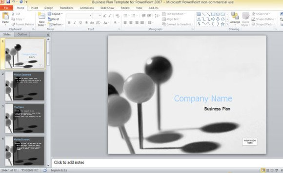 business plan template for powerpoint 2007, Modern powerpoint