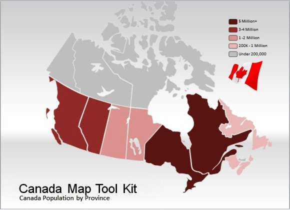 canada map template for powerpoint presentations, Modern powerpoint