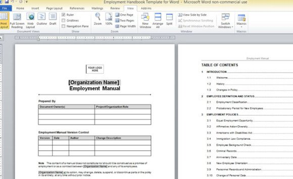 Employment Handbook Template For Word 1