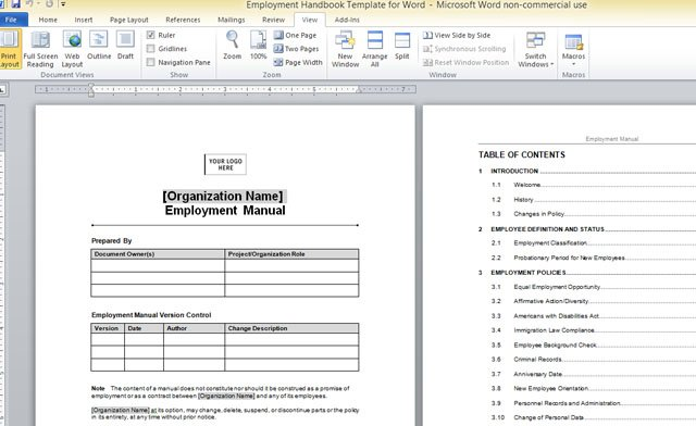 Employment handbook template for word for Employees handbook free template
