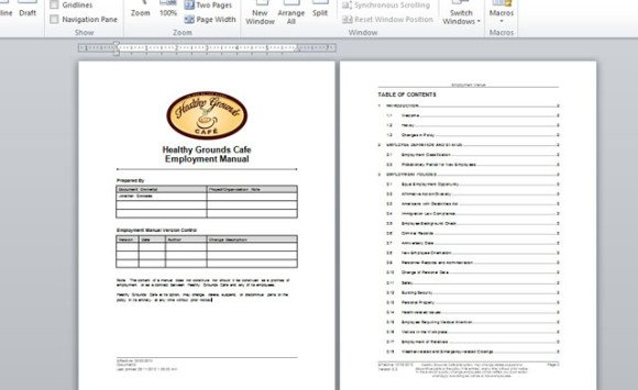 Employment handbook template for word for Word 2013 table of contents template