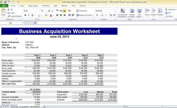 Free Business Acquisition Template For Excel - Free ms excel templates