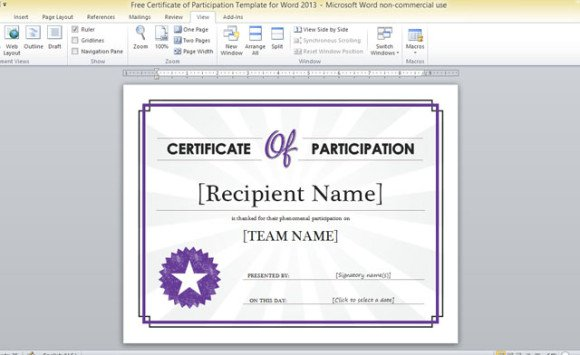 Free Certificate Of Participation Template For Word 2013   Microsoft Word Template Certificate
