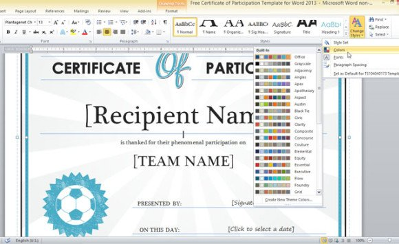 Certificate of participation template for word 2013 free certificate of participation template for word 2013 yadclub Choice Image