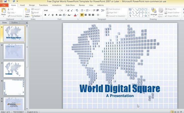 free digital world powerpoint template for powerpoint 2007 or later, Powerpoint templates