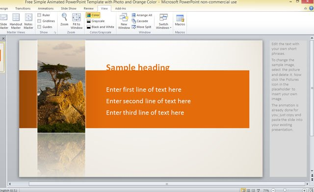 Free simple animated powerpoint template with photo and orange color toneelgroepblik Choice Image