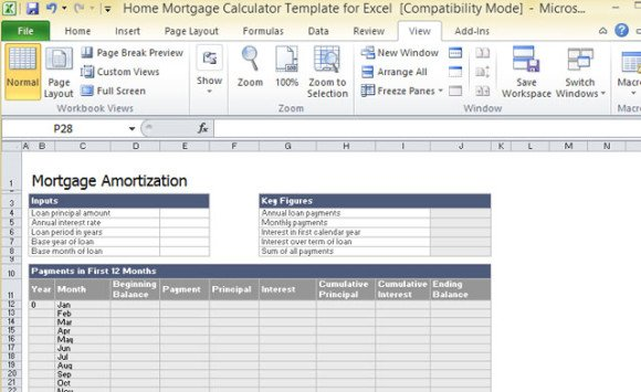 home mortgage calculator template for excel 1
