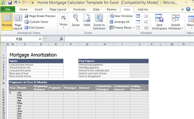 Mortgage Calculator Template For Excel