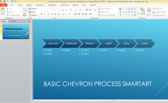 Horizontal process timeline template for powerpoint 2013 toneelgroepblik Images