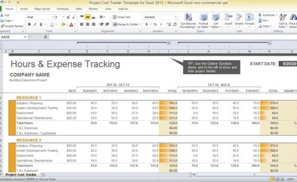 Project Cost Tracker Template For Excel 2013