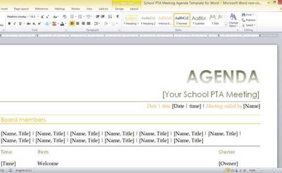 School Pta Meeting Agenda Template For Word