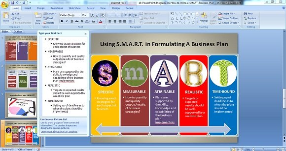 Powerpoint diagram on conceptualizing a smart business plan smart wajeb Images