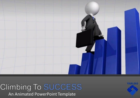 Business Presentation Template For Powerpoint With Animated 3d Graphs