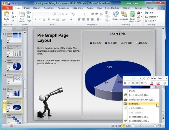 Business presentation template for powerpoint with animated 3d graphs create business charts business male cartoon character with telescope looking a pie chart accmission Gallery