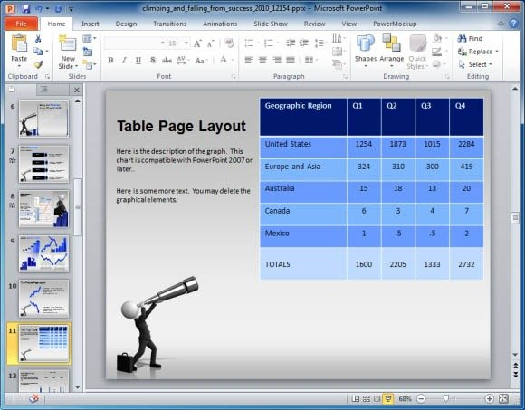 Presentation Template For PowerPoint With Animated 3D Graphs
