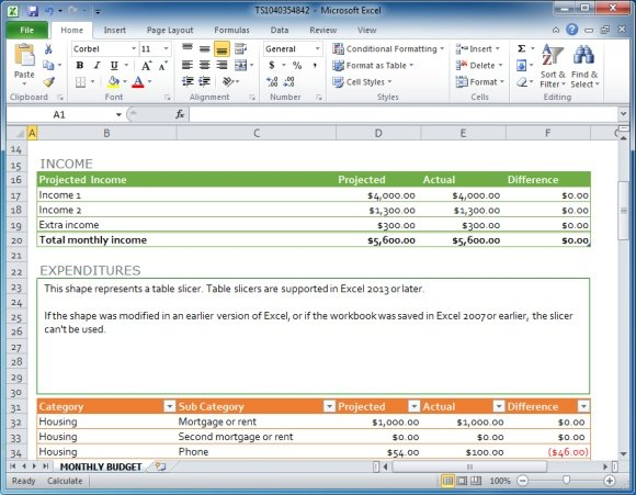 excel template features