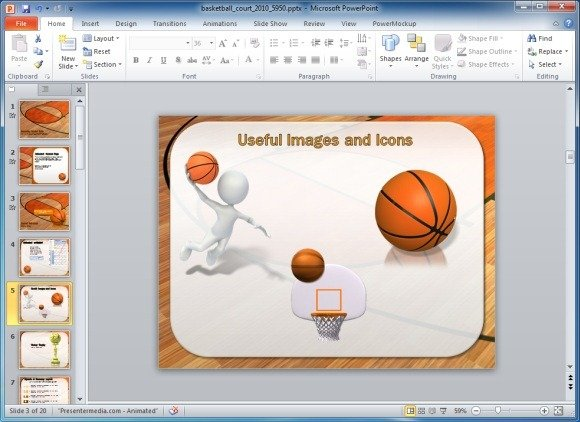 animated basketball powerpoint template, Modern powerpoint