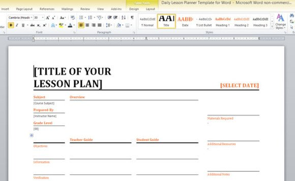 Daily lesson planner template for word for Teachers college lesson plan template