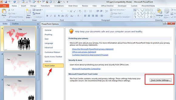 How to Disable Protected View in Microsoft PowerPoint 2010