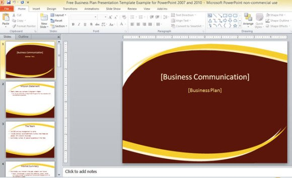 Free business plan presentation template for powerpoint 2007 and 2010.
