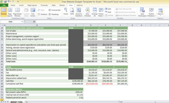 Website Budget Template For Excel