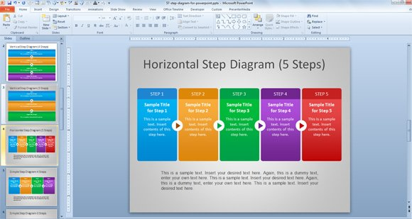 Free steps diagram for powerpoint horizontal step powerpoint template maxwellsz